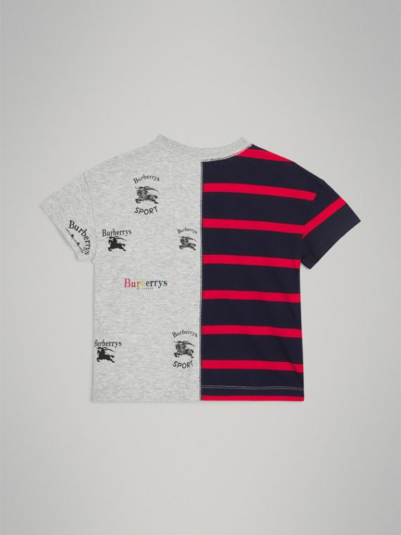 Archive Logo Print Striped Cotton T-shirt in Parade Red - Boy | Burberry - cell image 3