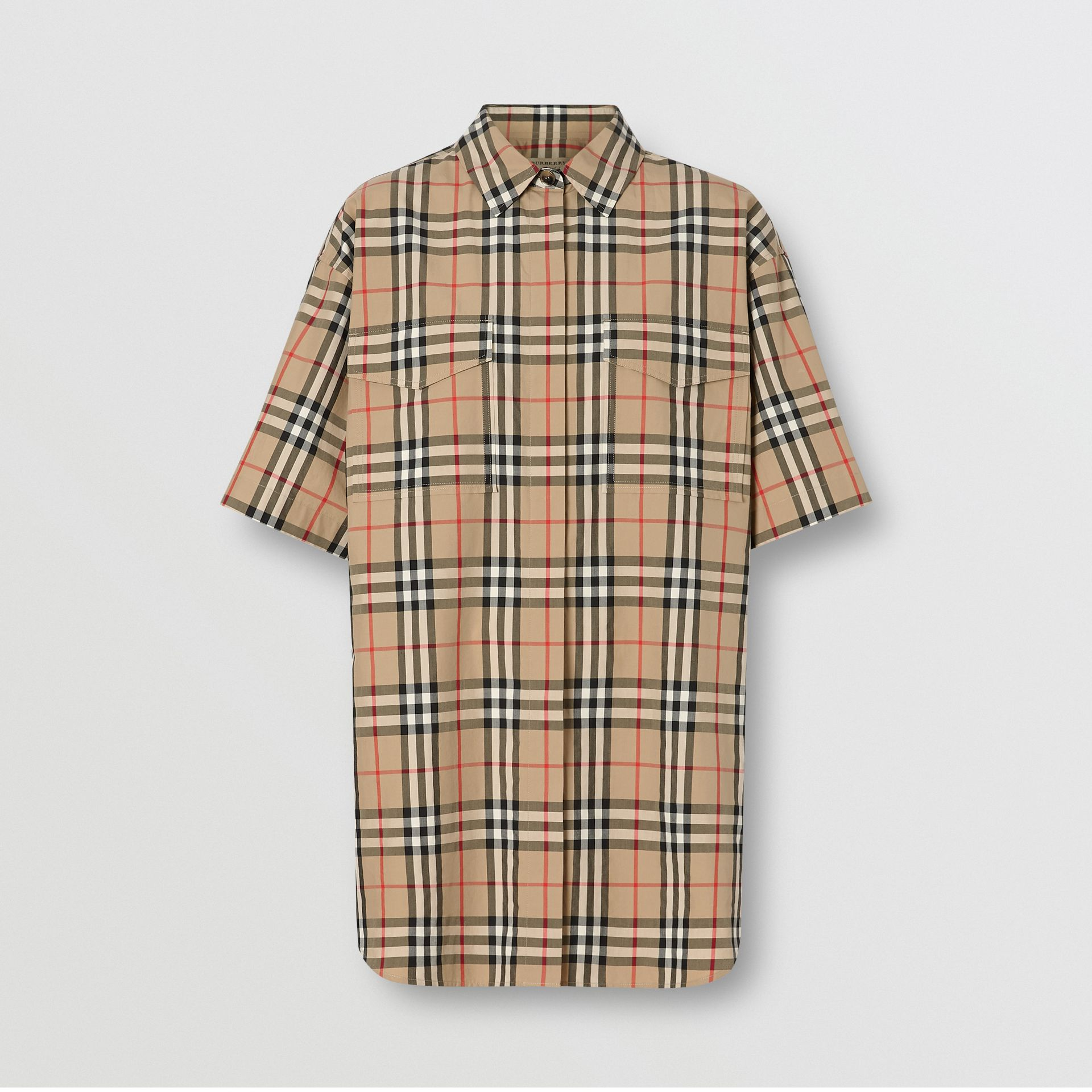 Short-sleeve Vintage Check Cotton Oversized Shirt in Archive Beige - Women | Burberry United Kingdom - gallery image 3