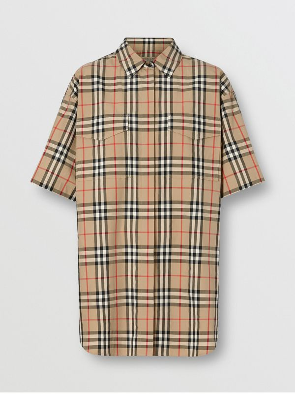 Short-sleeve Vintage Check Cotton Oversized Shirt in Archive Beige - Women | Burberry United Kingdom - cell image 3
