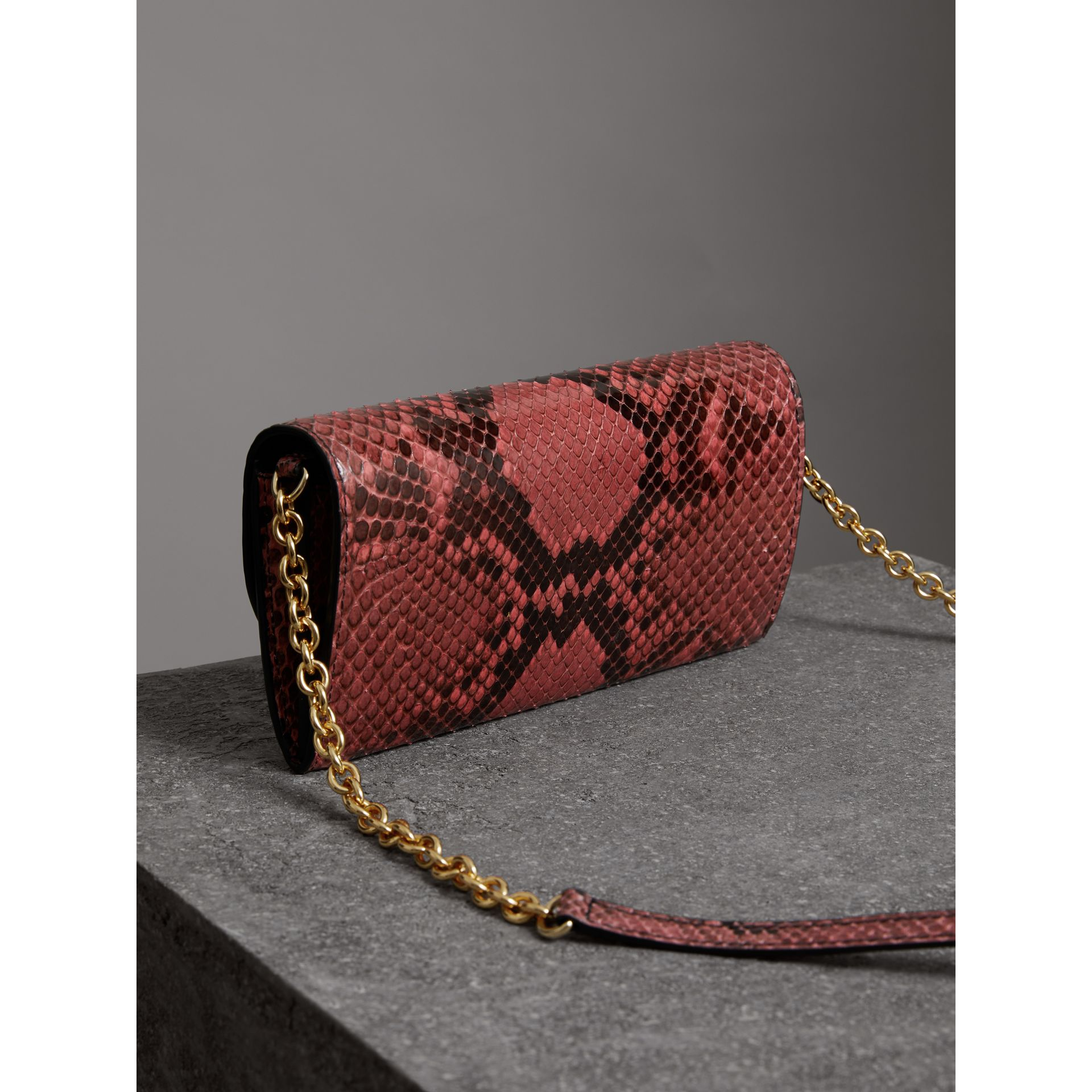 Python Wallet with Chain in Peony - Women | Burberry - gallery image 2