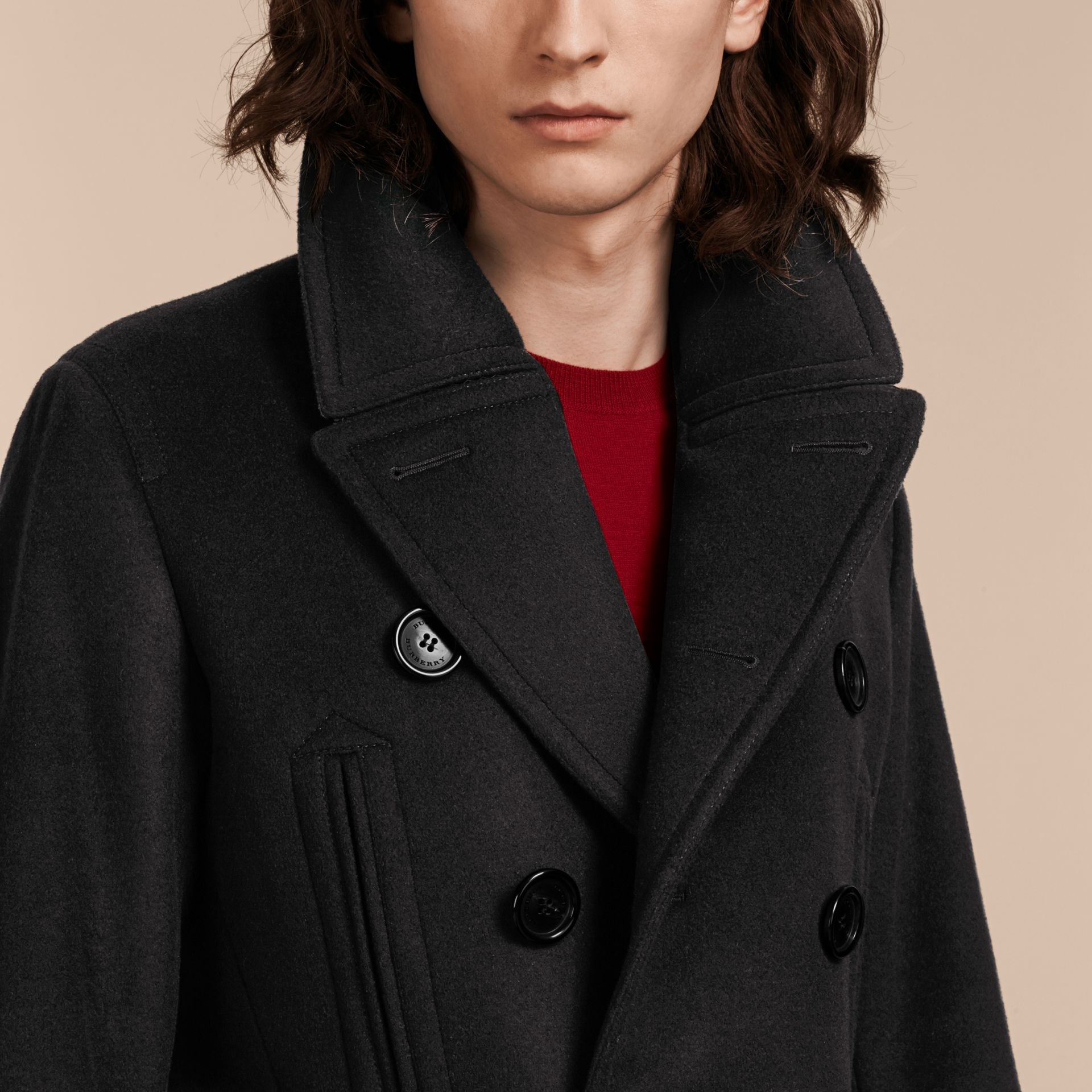Black Wool Cashmere Pea Coat - gallery image 5