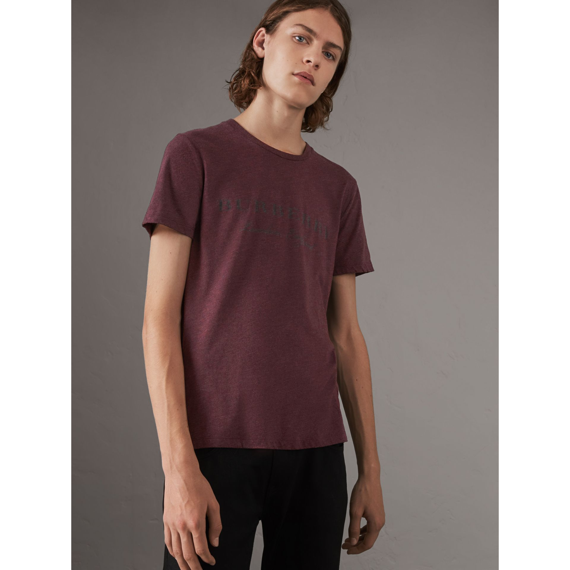 Devoré Cotton Jersey T-shirt in Deep Claret Melange - Men | Burberry - gallery image 0