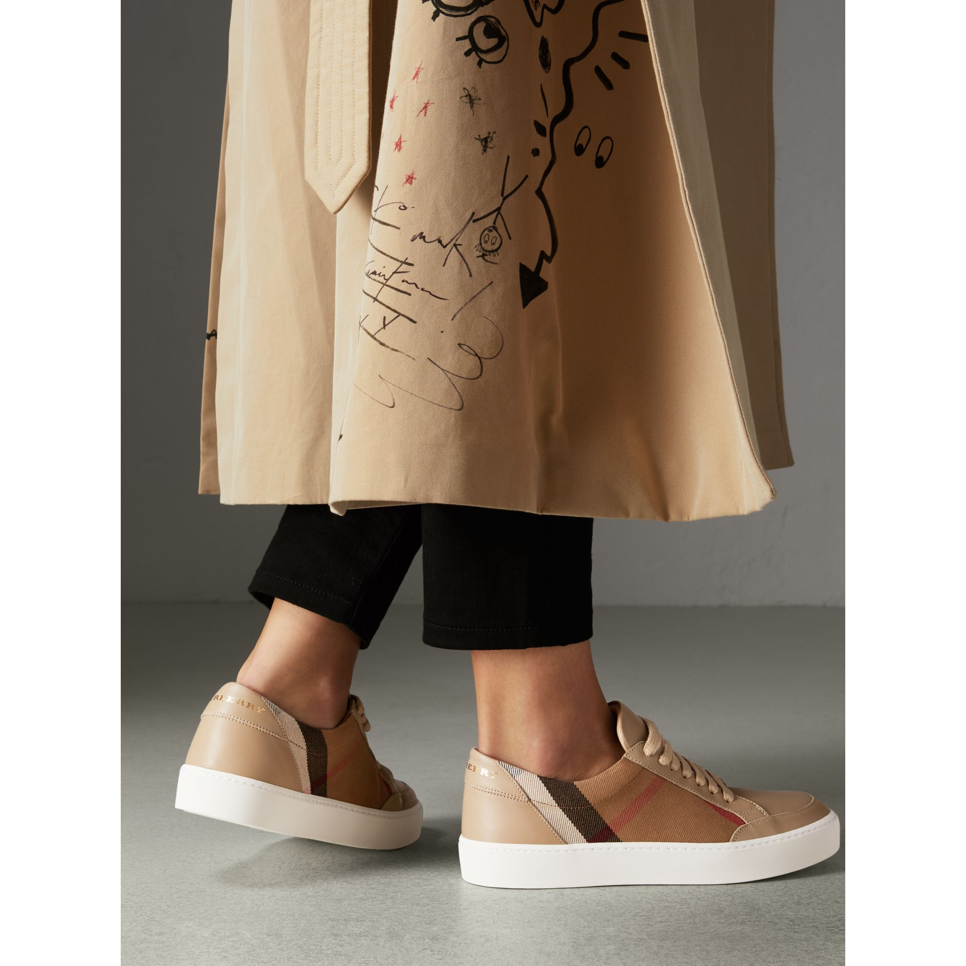 Check Detail Leather Sneakers in House Check/ Nude - Women | Burberry - gallery image 2