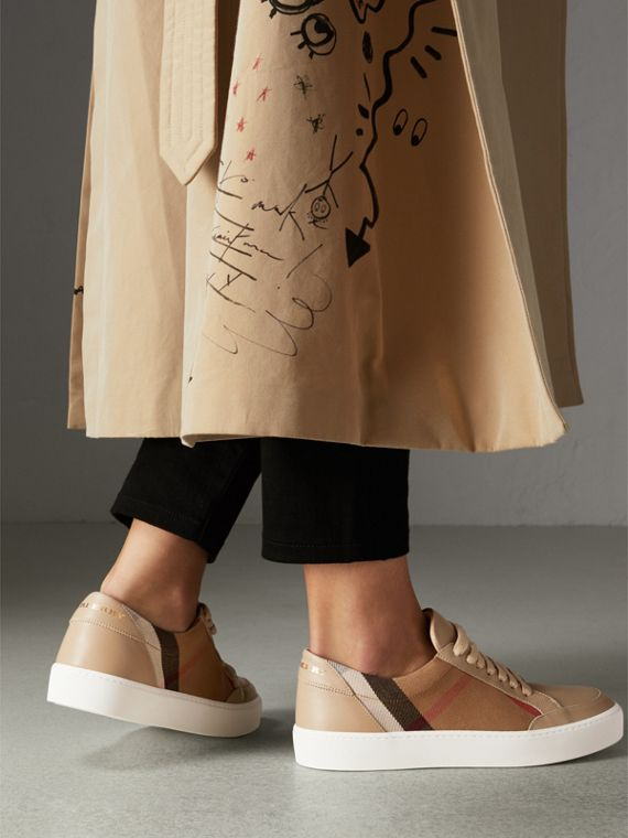 Check Detail Leather Sneakers in House Check/ Nude - Women | Burberry Hong Kong - cell image 2