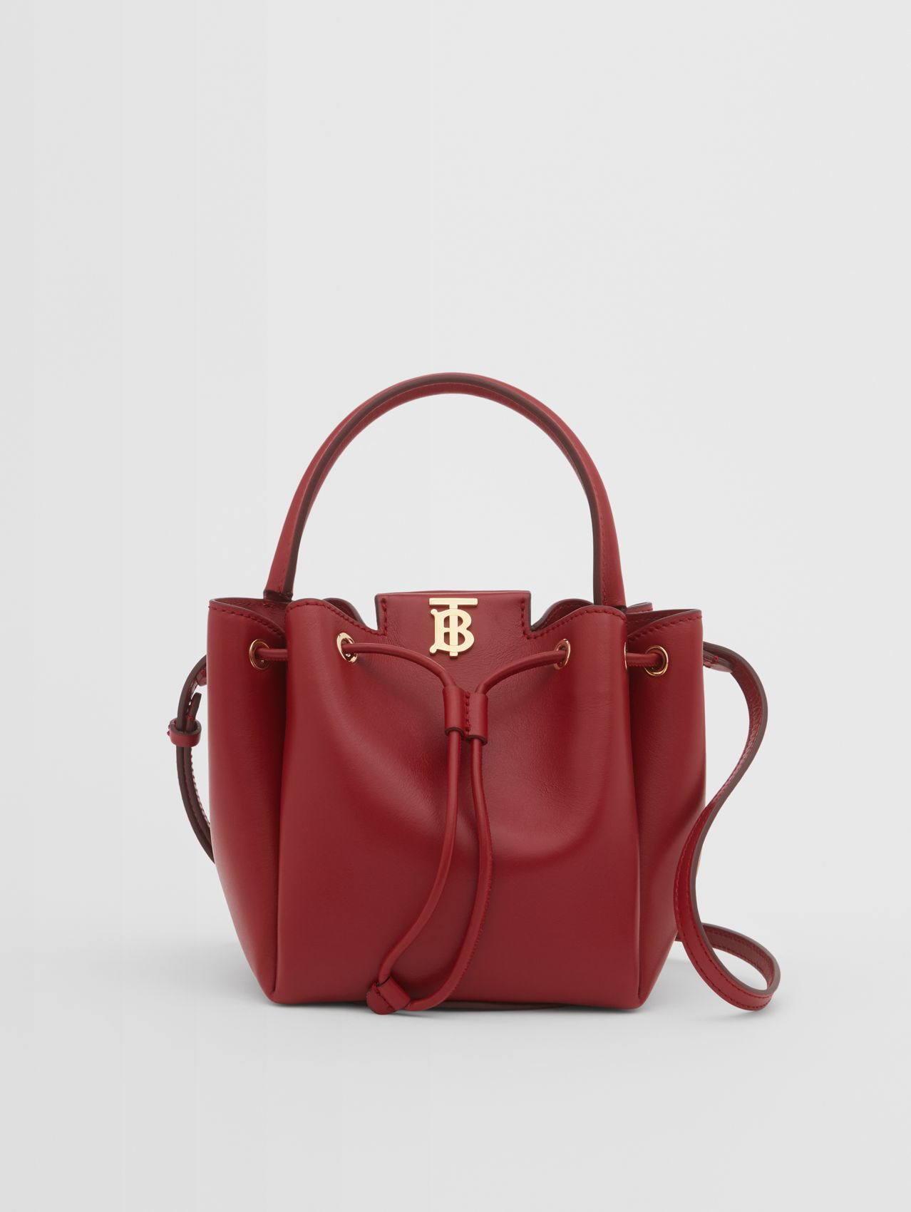 Monogram Motif Leather Bucket Bag in Dark Carmine