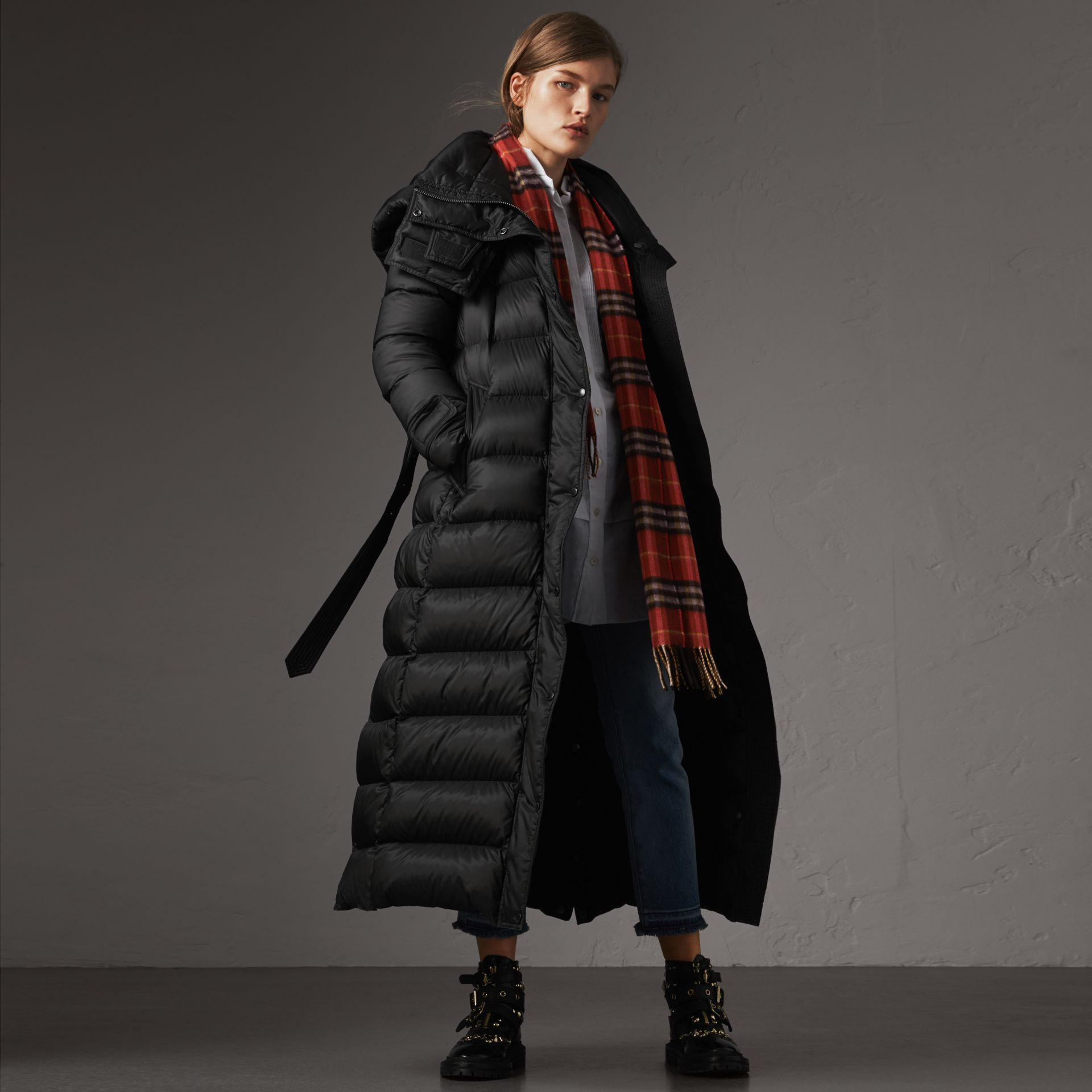 Detachable Hood Long Down-filled Puffer Coat in Black - Women | Burberry Australia - gallery image 0