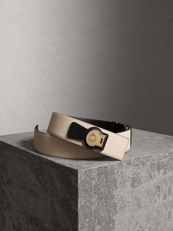 Two-tone Trench Leather Belt in Limestone/ Black