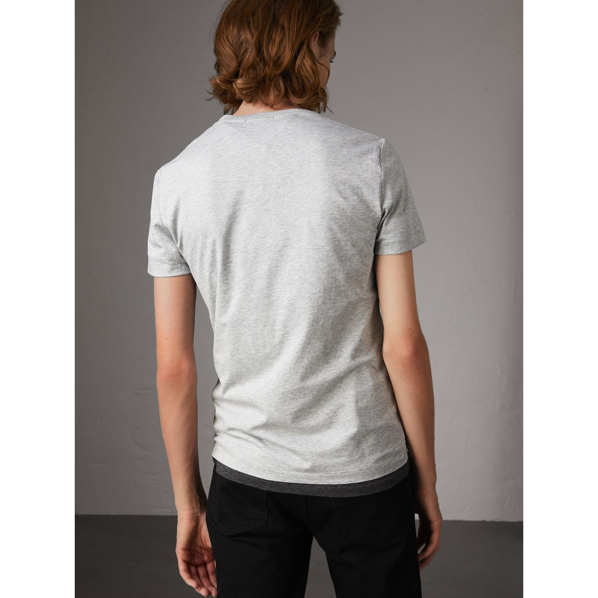Cotton V-neck T-shirt in Pale Grey Melange - Men | Burberry - gallery image 3