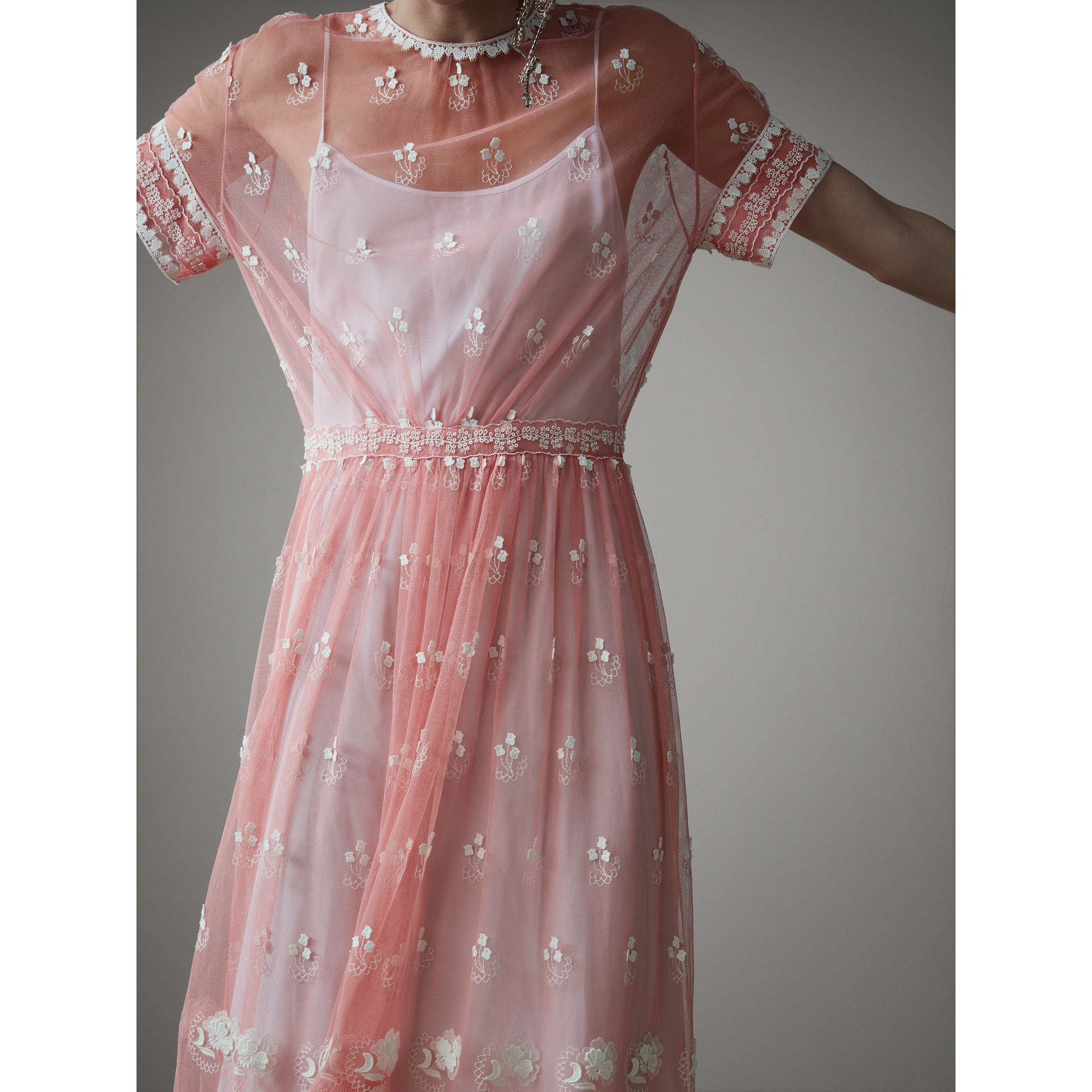 Short-sleeve Embroidered Tulle Dress in Rose Pink/white - Women | Burberry Australia - gallery image 4