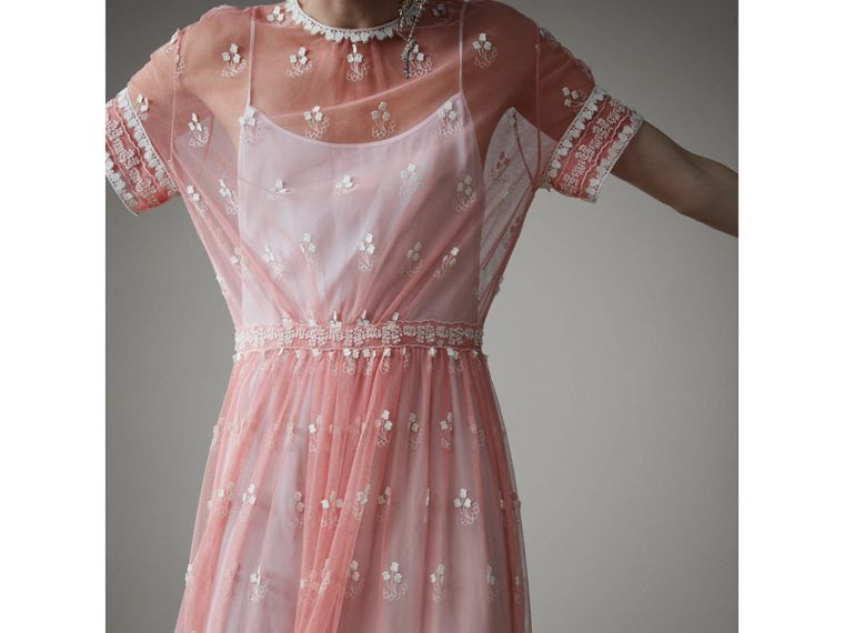Short-sleeve Embroidered Tulle Dress in Rose Pink/white - Women | Burberry - cell image 4