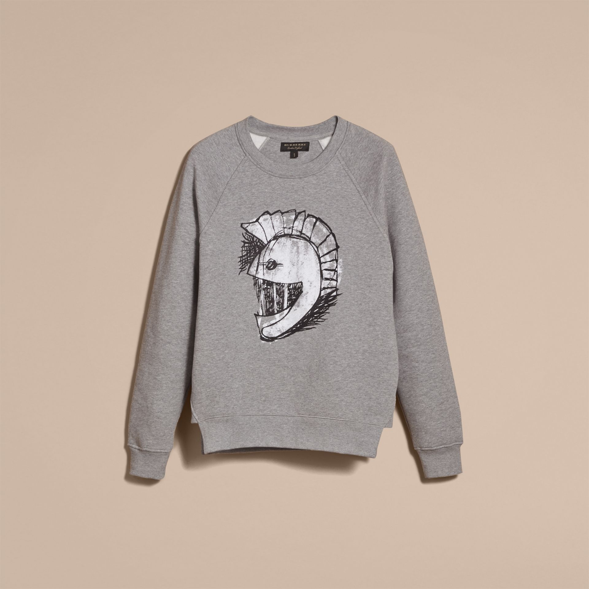 Unisex Pallas Helmet Motif Sweatshirt in Grey Melange - Women | Burberry - gallery image 4