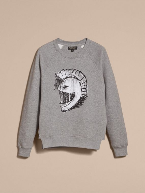 Unisex Pallas Helmet Motif Sweatshirt in Grey Melange - Women | Burberry - cell image 3