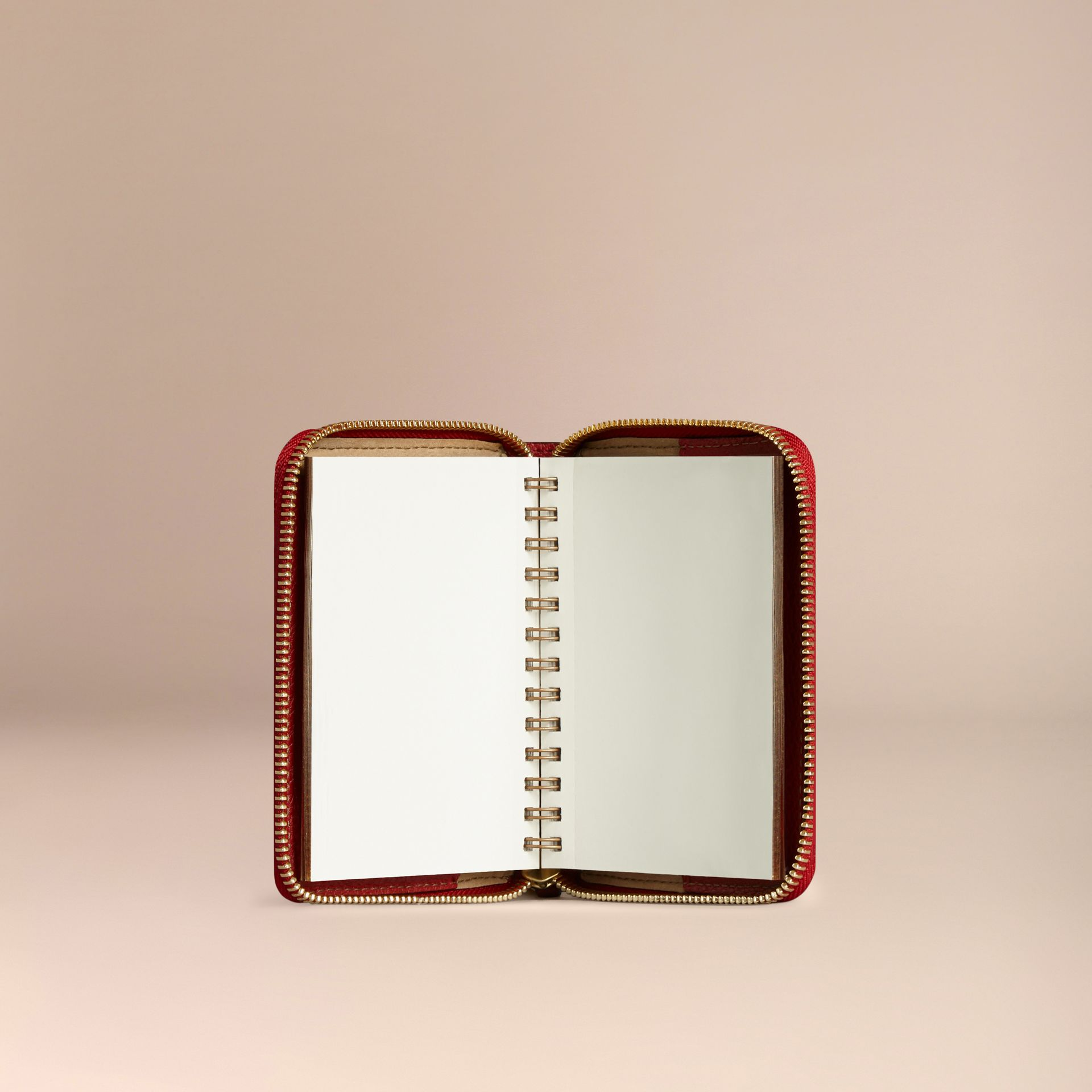 Ziparound Grainy Leather Mini Notebook in Parade Red | Burberry Australia - gallery image 3