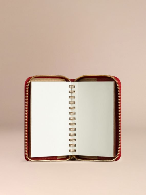 Ziparound Grainy Leather Mini Notebook in Parade Red | Burberry - cell image 2