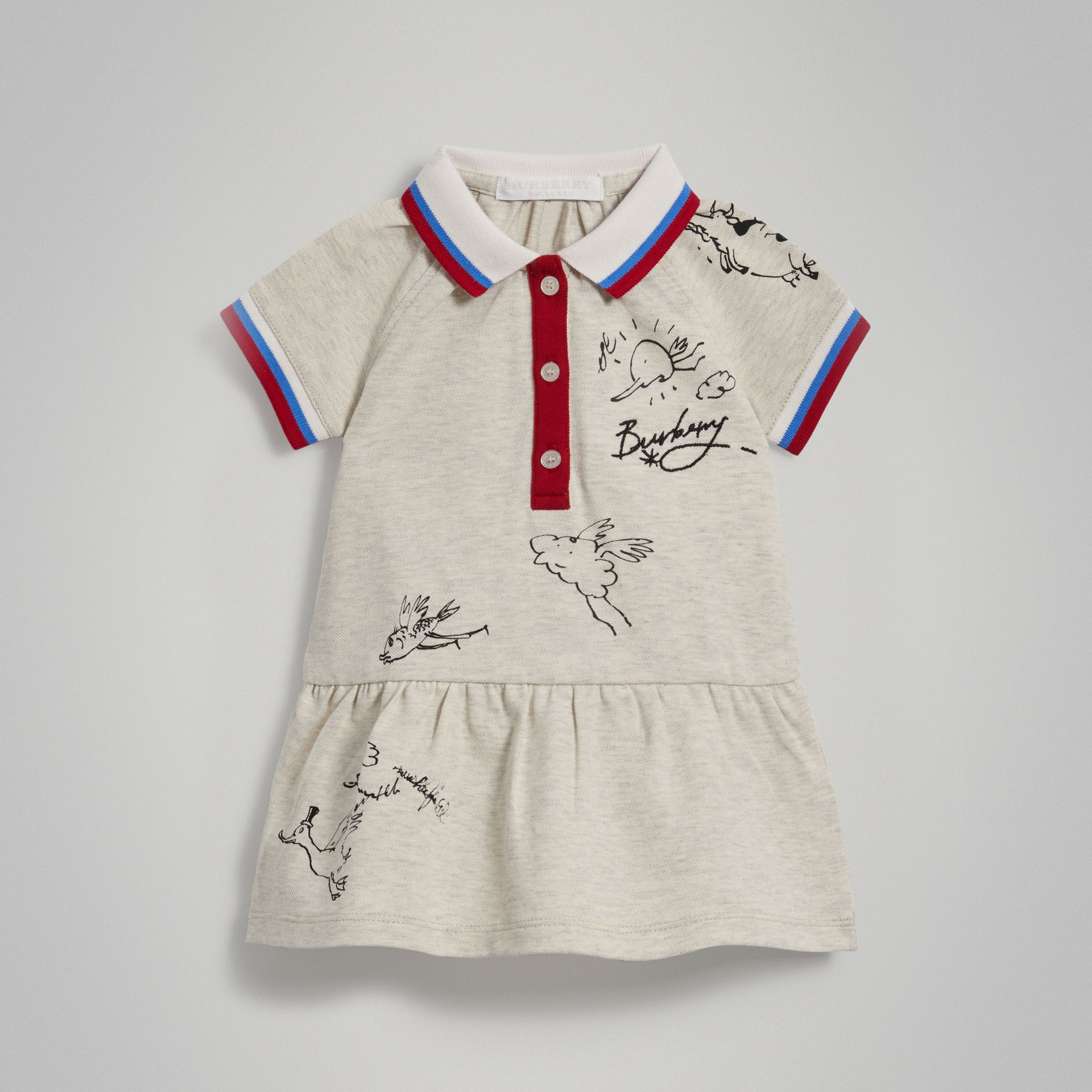 Stretch Cotton Polo Dress in White Melange - Children | Burberry - gallery image 0