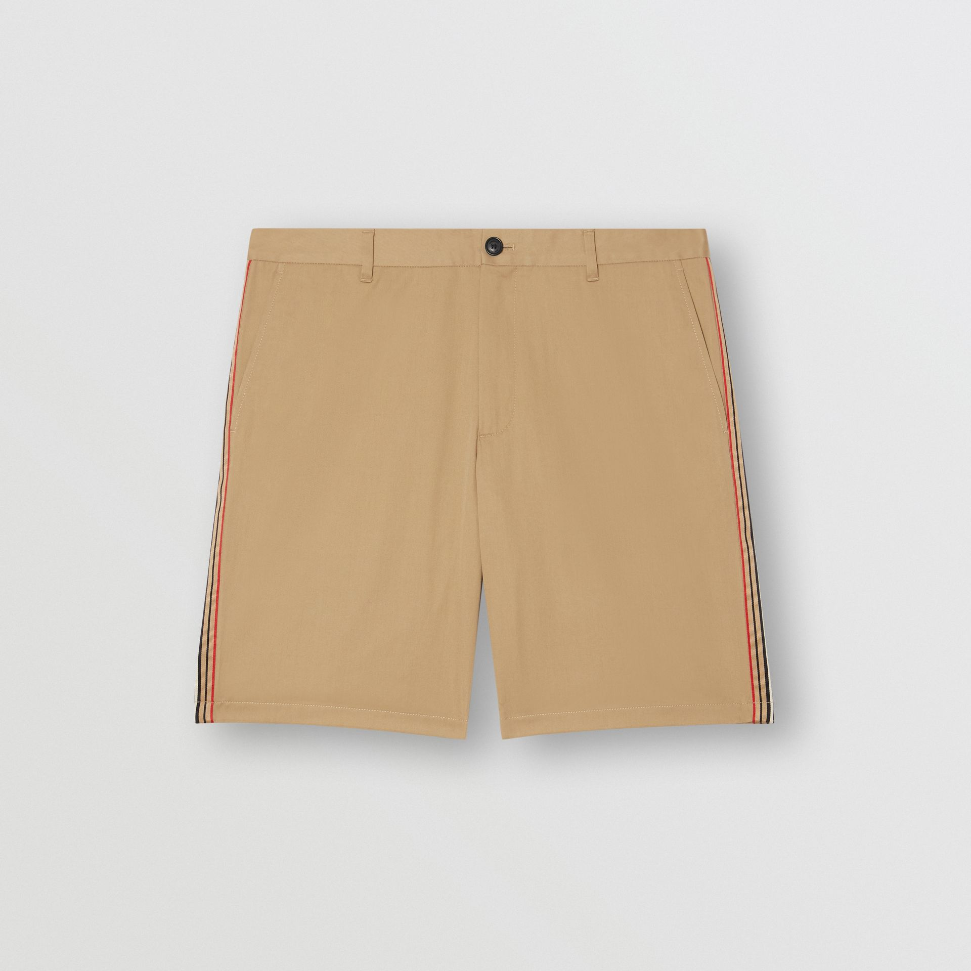 Icon Stripe Detail Cotton Twill Chino Shorts in Honey - Men | Burberry - gallery image 3