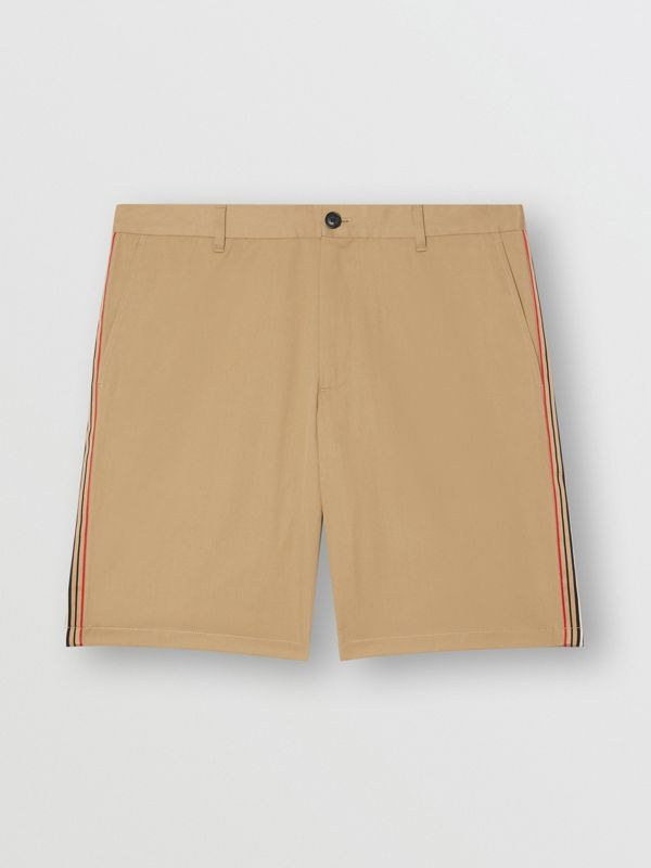 Icon Stripe Detail Cotton Twill Chino Shorts in Honey - Men | Burberry Canada - cell image 3