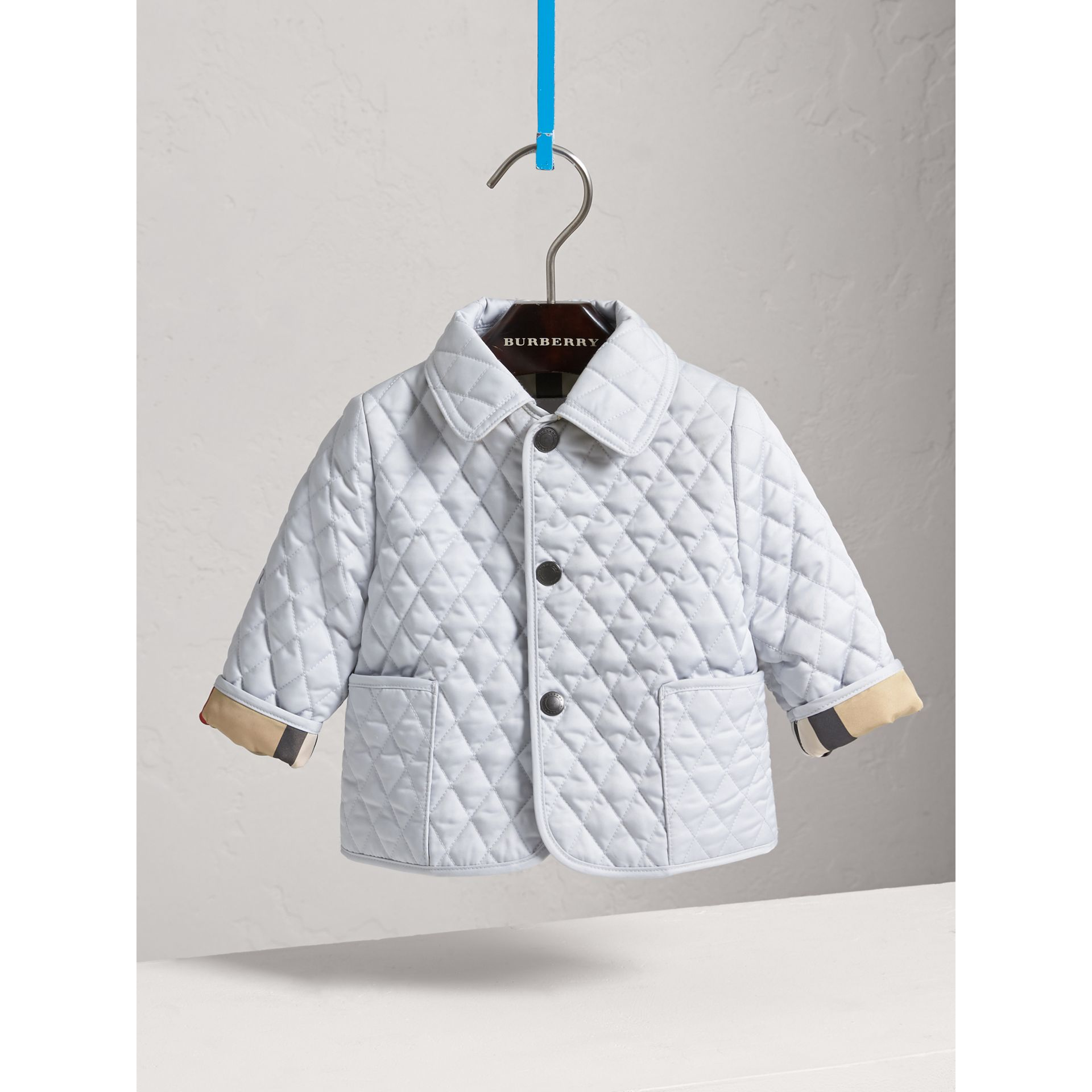 Check Detail Diamond Quilted Jacket in Ice Blue | Burberry - gallery image 2