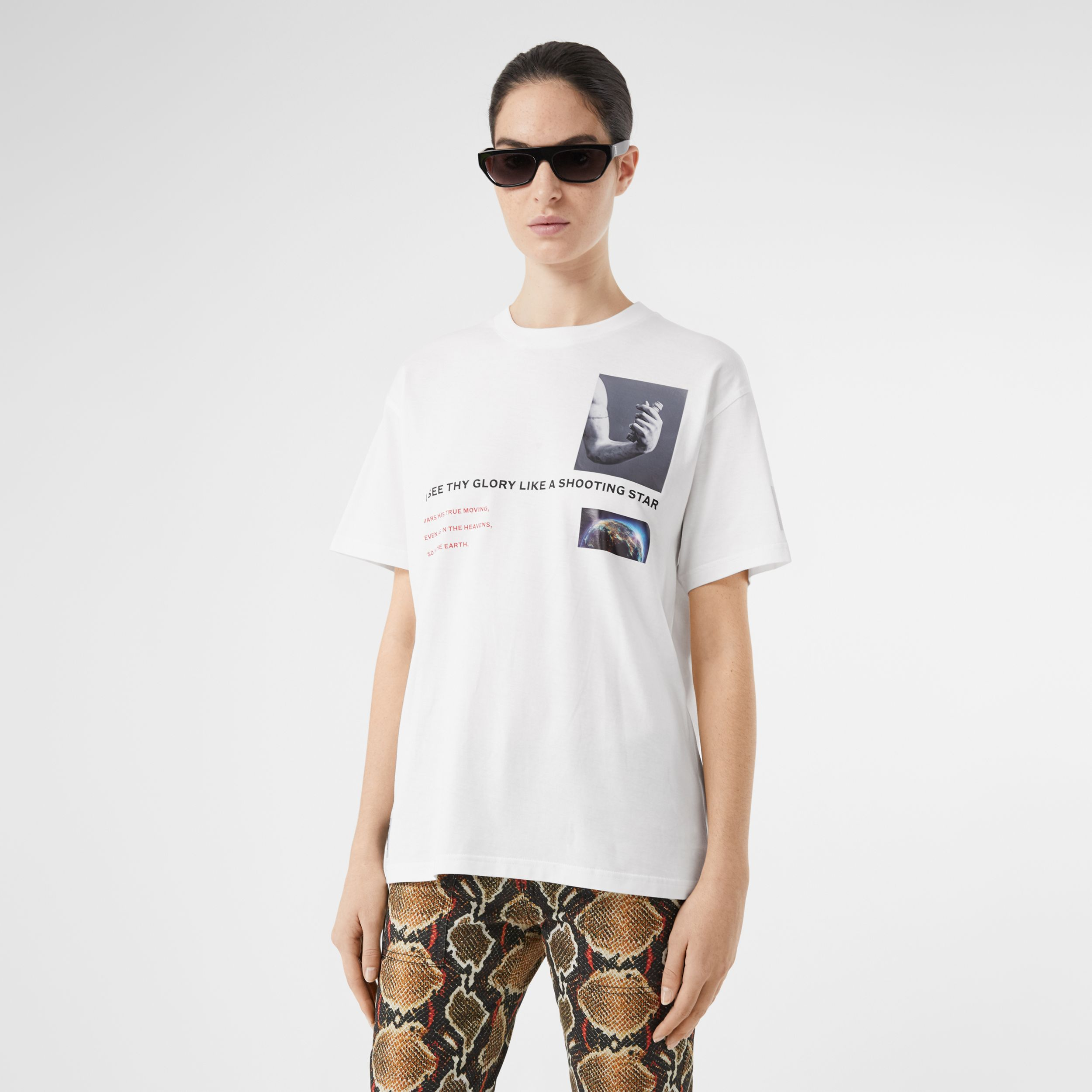 Montage Print Cotton Oversized T-shirt in White - Women | Burberry - 1