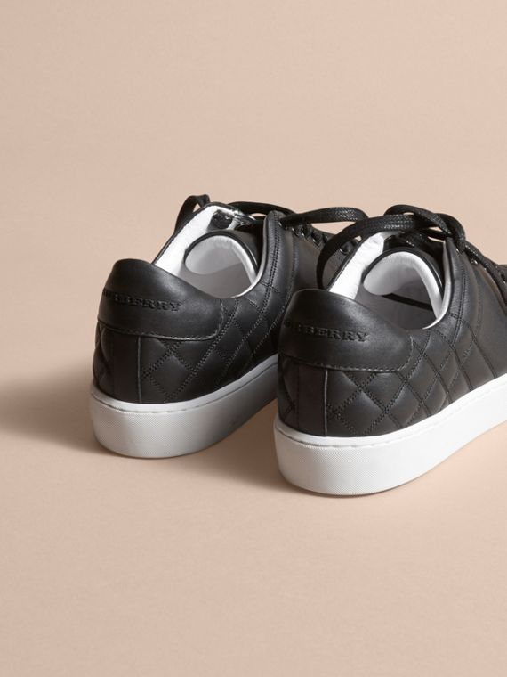 Check-quilted Leather Trainers in Black - Women | Burberry - cell image 3