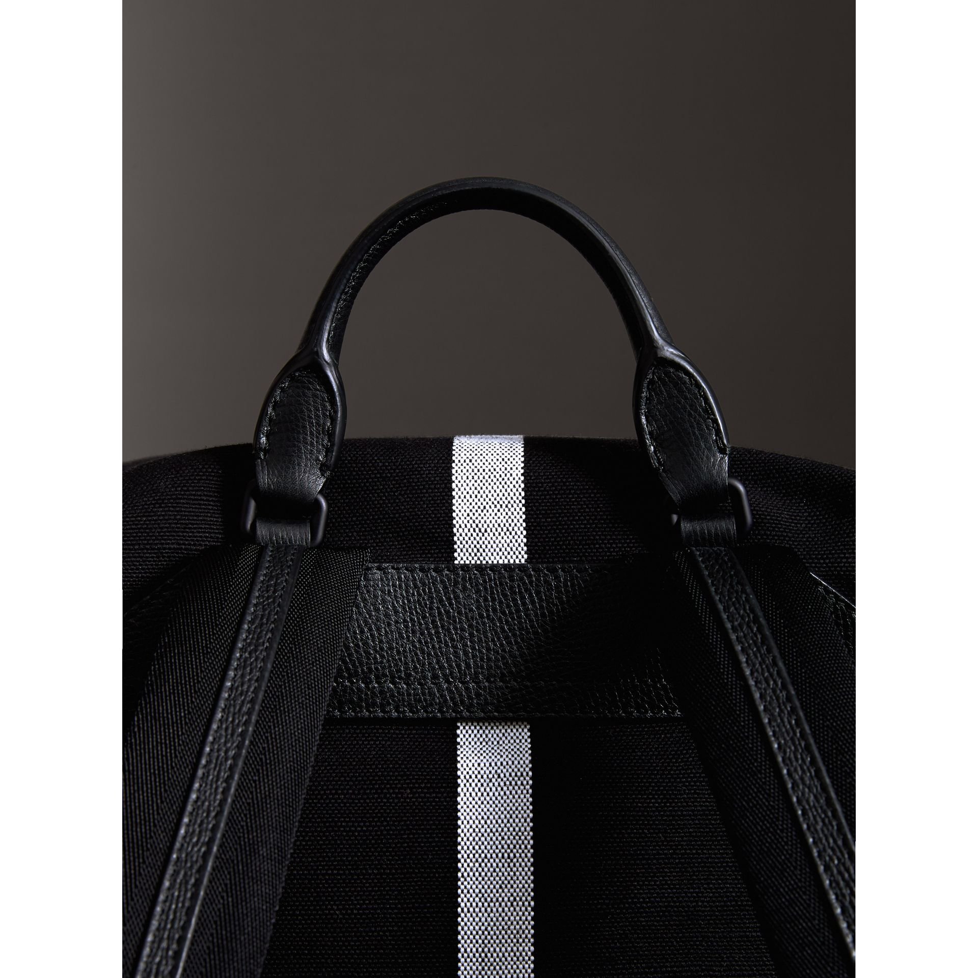 Zip-top Leather Trim Canvas Check Backpack in Racing Green/black - Men | Burberry Canada - gallery image 1
