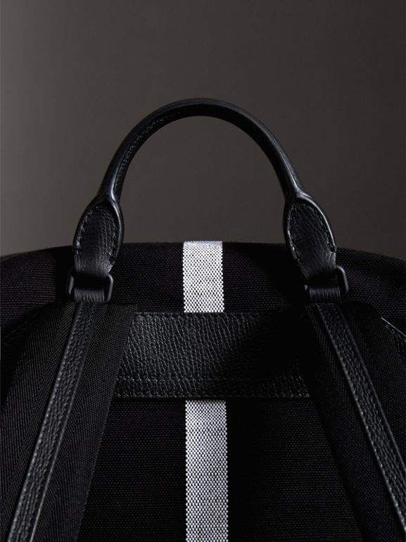Zip-top Leather Trim Canvas Check Backpack in Racing Green/black - Men | Burberry Canada - cell image 1
