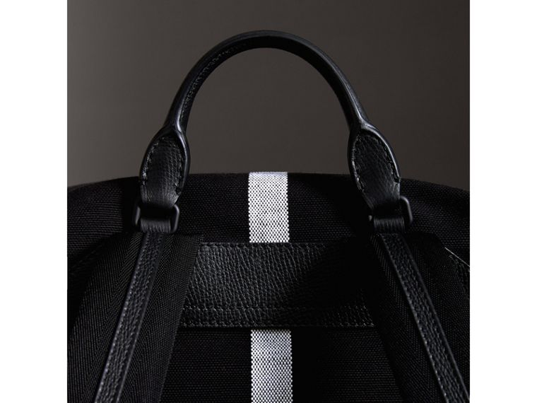 Zip-top Leather Trim Canvas Check Backpack in Racing Green/black - Men | Burberry - cell image 1