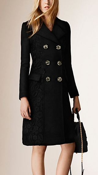 Lace Detail Cashmere Coat