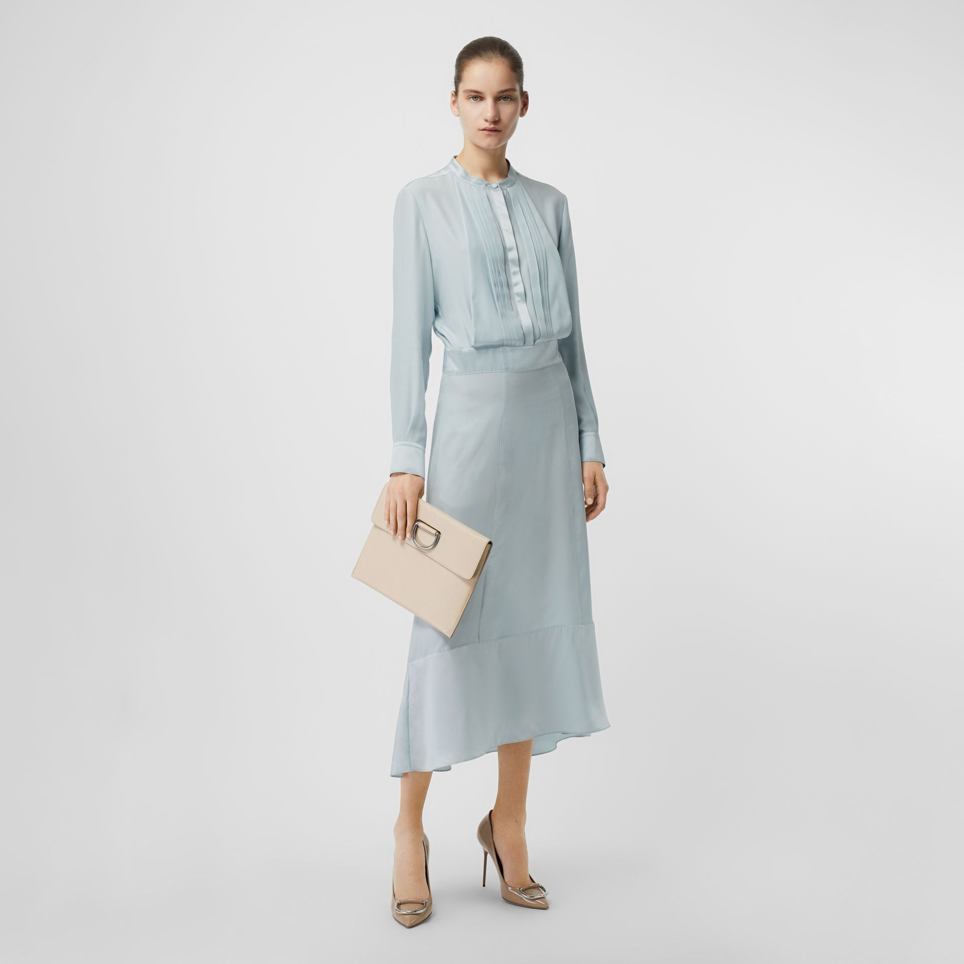 Silk Satin Shirt Dress in Pale Blue - Women | Burberry United Kingdom - gallery image 0