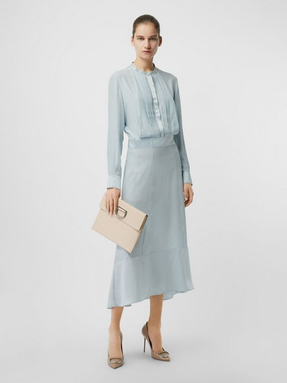 Silk Satin Shirt Dress in Pale Blue