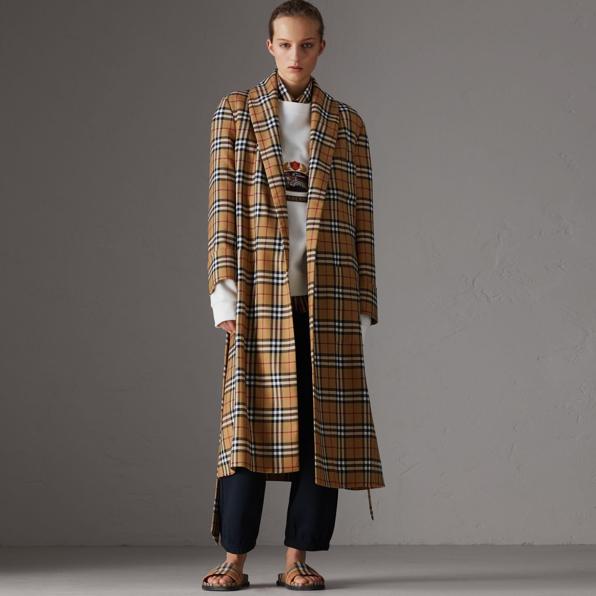 Reissued Vintage Check Dressing Gown Coat in Antique Yellow - Women | Burberry United Kingdom - gallery image 0