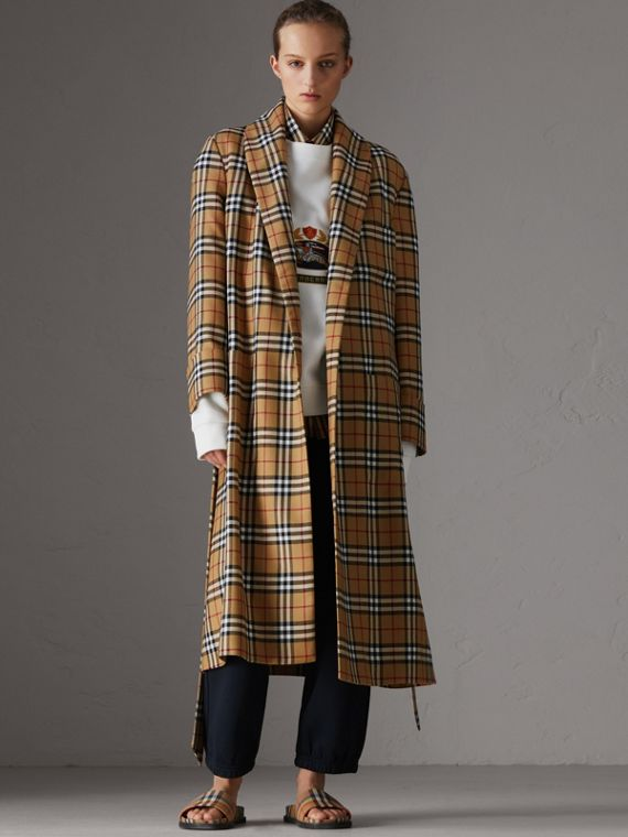 Reissued Vintage Check Dressing Gown Coat in Antique Yellow