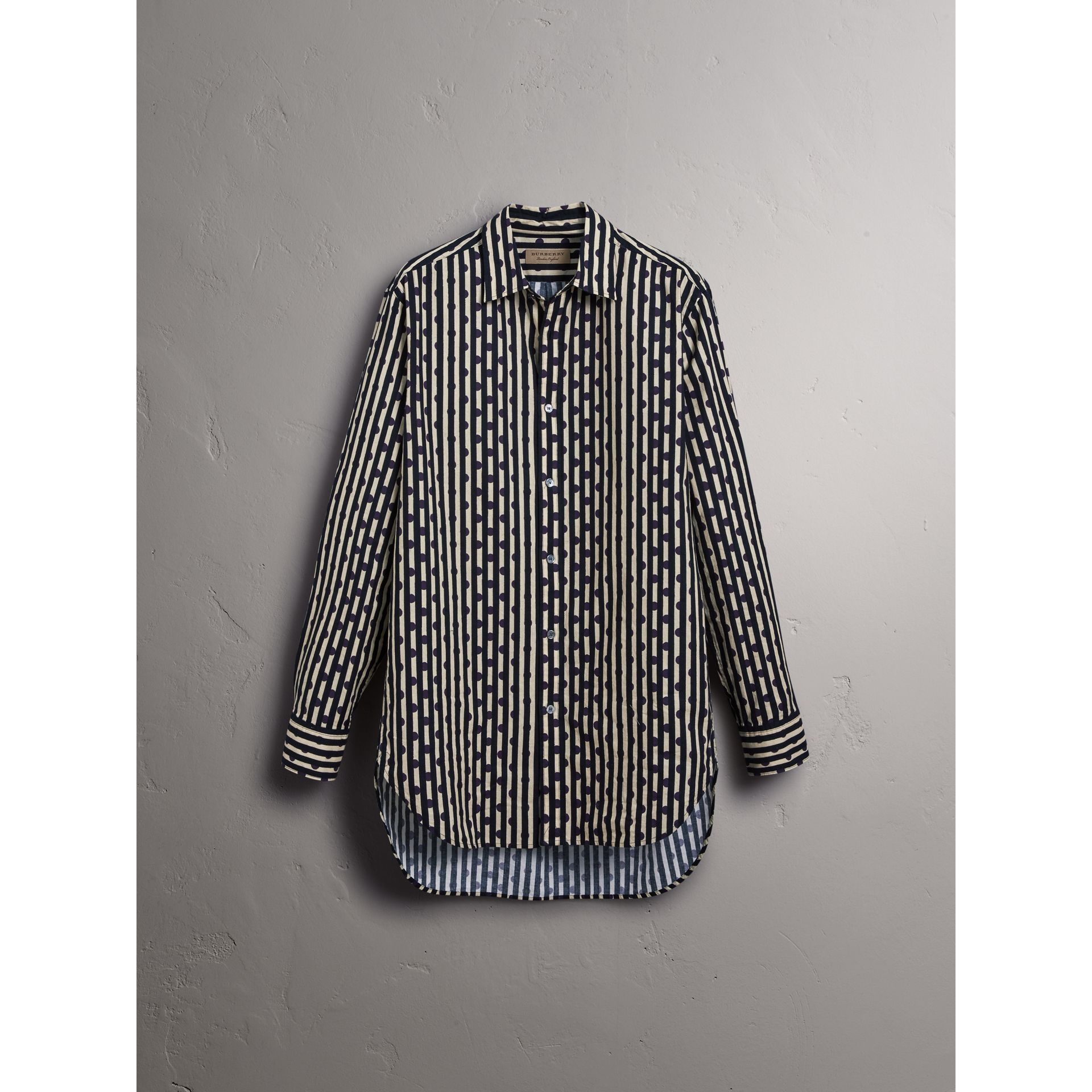 Spot and Stripe Print Cotton Shirt in Navy - Men | Burberry United States - gallery image 3