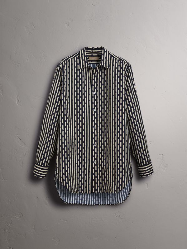 Spot and Stripe Print Cotton Shirt in Navy - Men | Burberry - cell image 3