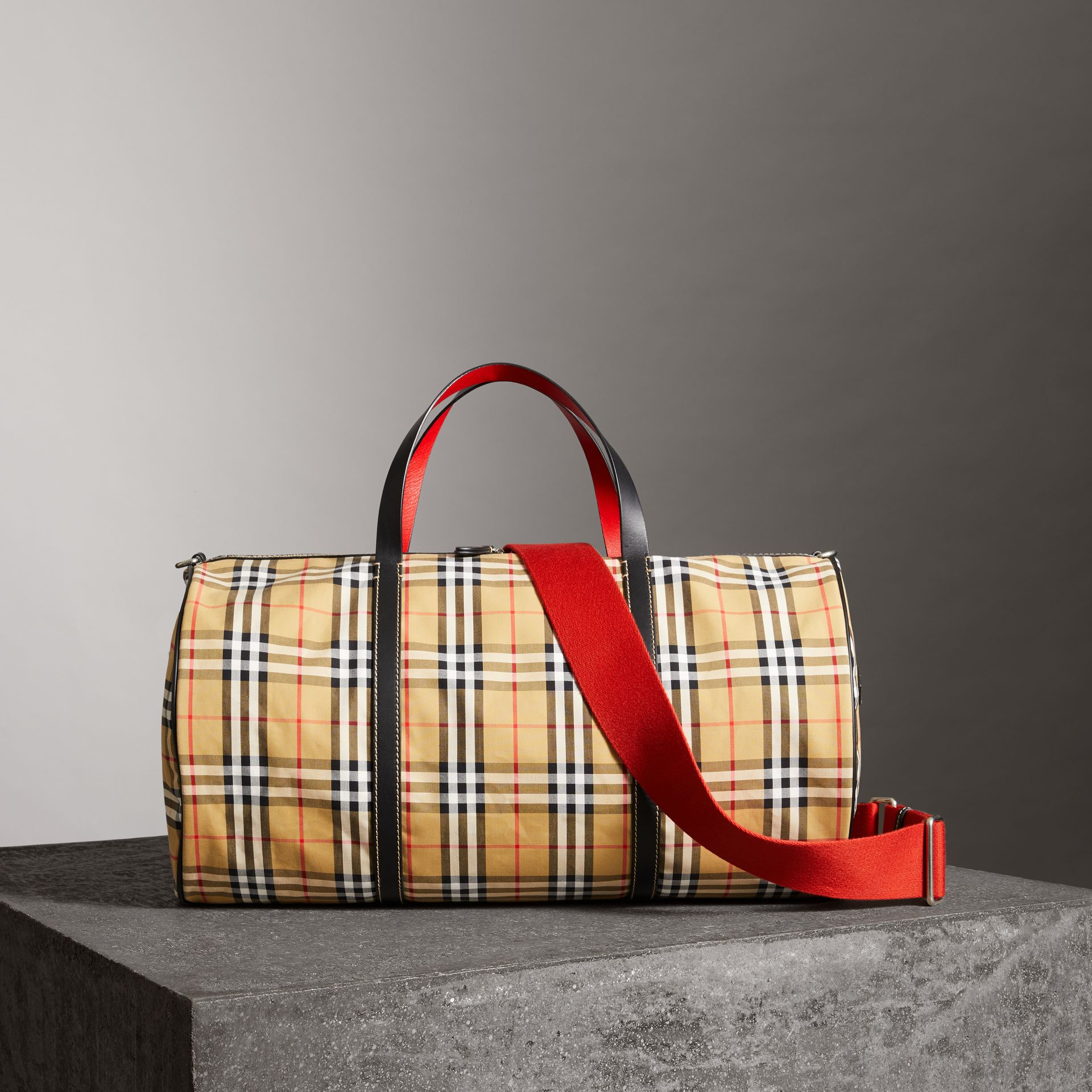 Large Vintage Check and Leather Barrel Bag in Military Red - Men | Burberry Australia - gallery image 0