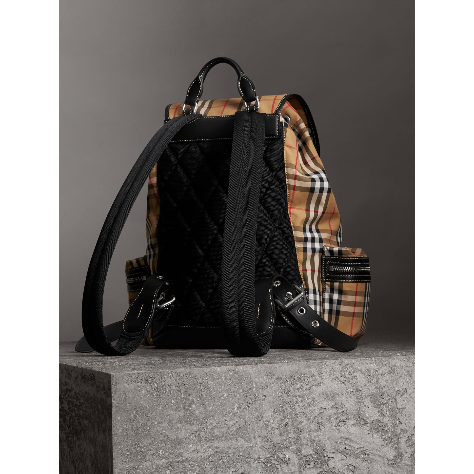 The Large Rucksack in Vintage Check in Antique Yellow - Men | Burberry United Kingdom - gallery image 3