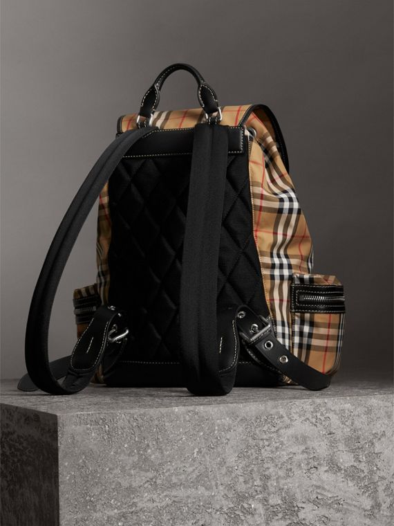 The Large Rucksack in Vintage Check in Antique Yellow - Men | Burberry Singapore - cell image 3