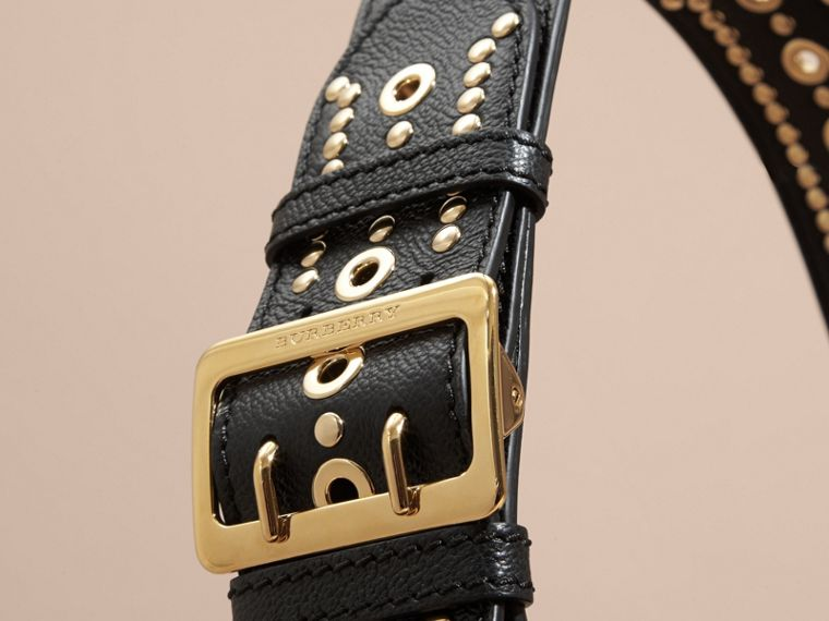 Black Stud Detail Textured Leather Shoulder Bag - cell image 1