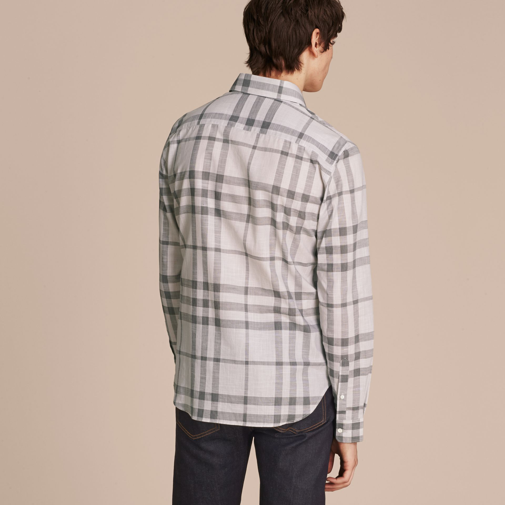 Mid grey Check Cotton Chambray Shirt Mid Grey - gallery image 3