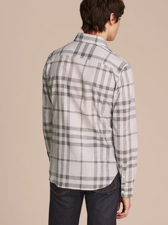 Mid grey Check Cotton Chambray Shirt Mid Grey - cell image 2