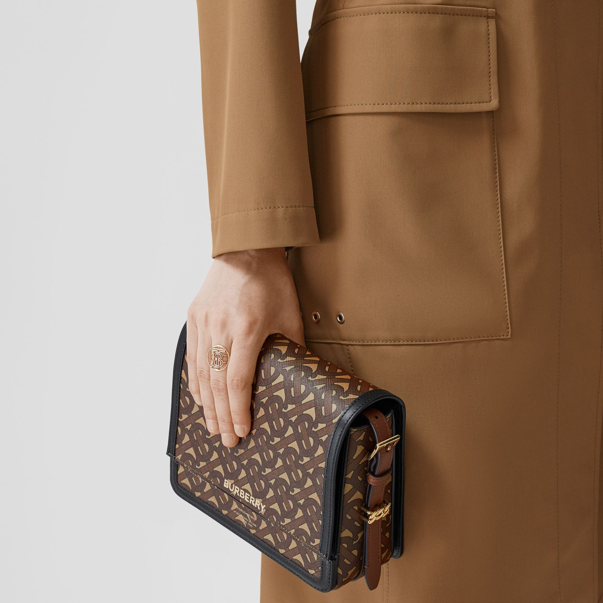 Small Monogram Print E-canvas Grace Bag in Bridle Brown - Women | Burberry - gallery image 8