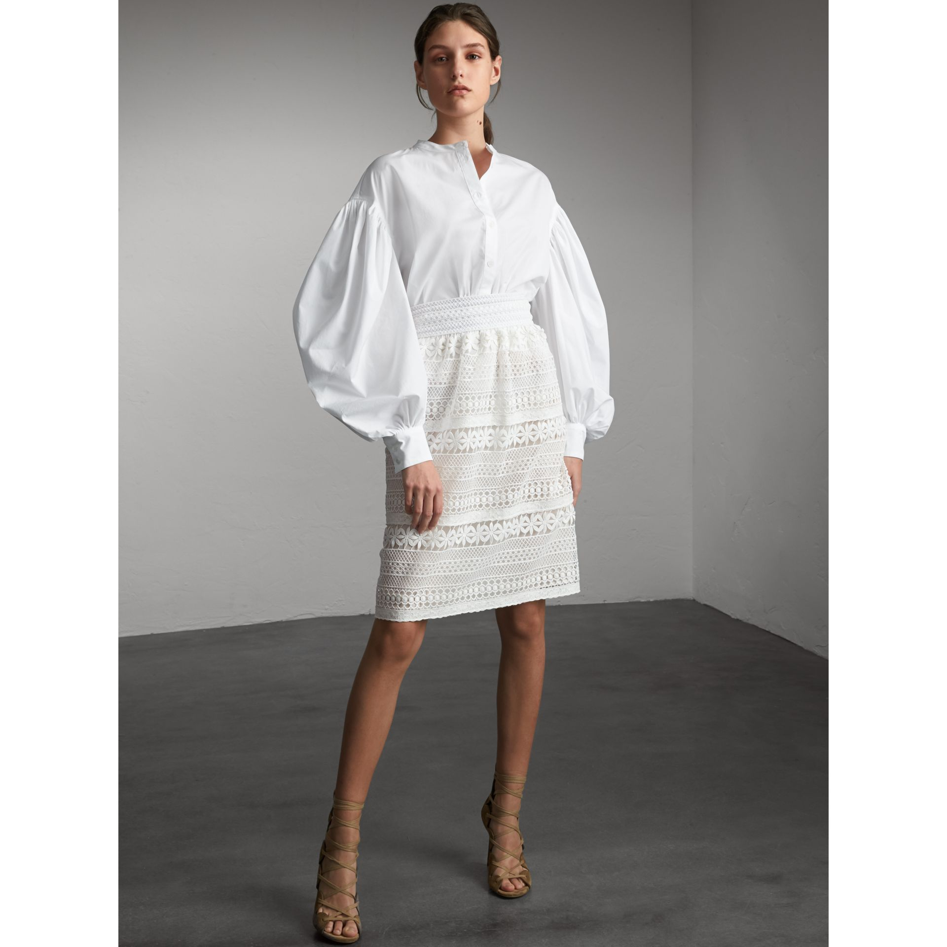 Macramé Lace Skirt in White - Women | Burberry - gallery image 1