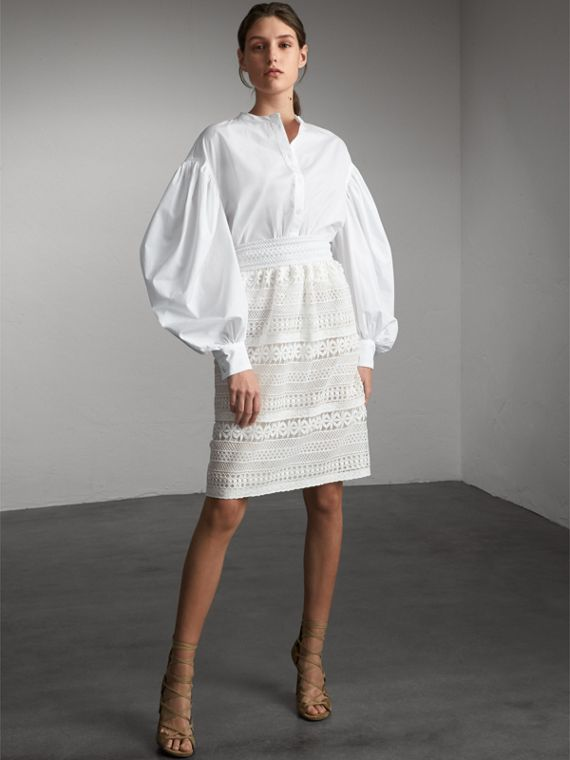 Macramé Lace Skirt in White