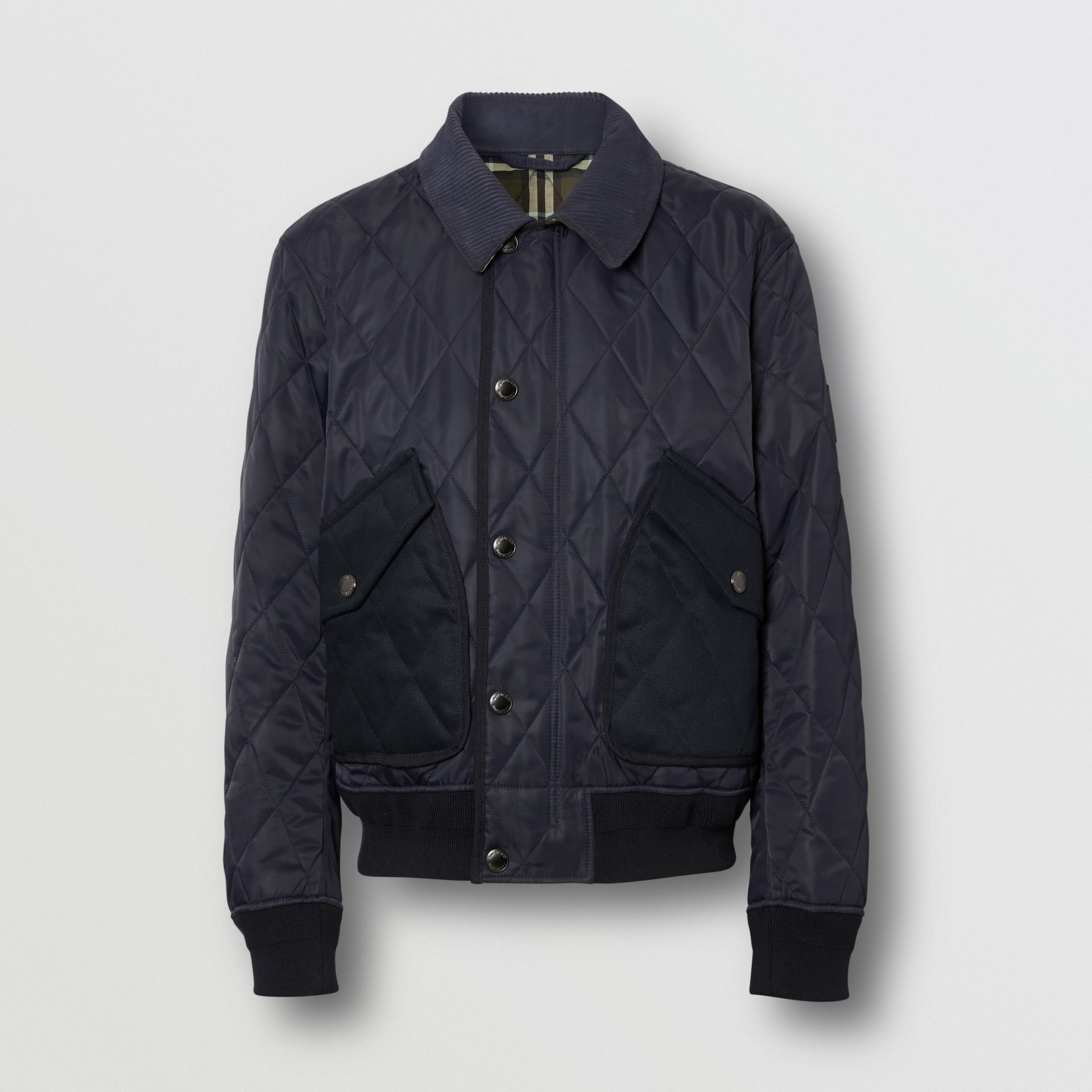 Diamond Quilted Thermoregulated Jacket in Navy - Men | Burberry - gallery image 3