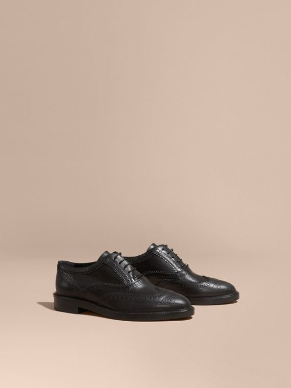 Leather Wingtip Brogues in Black - Women | Burberry Australia