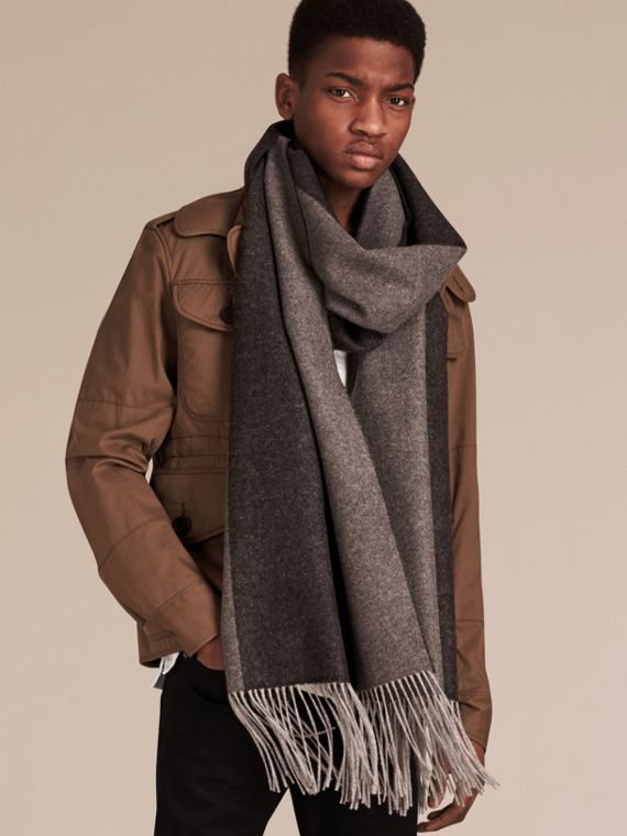 Oversize Striped Cashmere Scarf in Charcoal - cell image 2