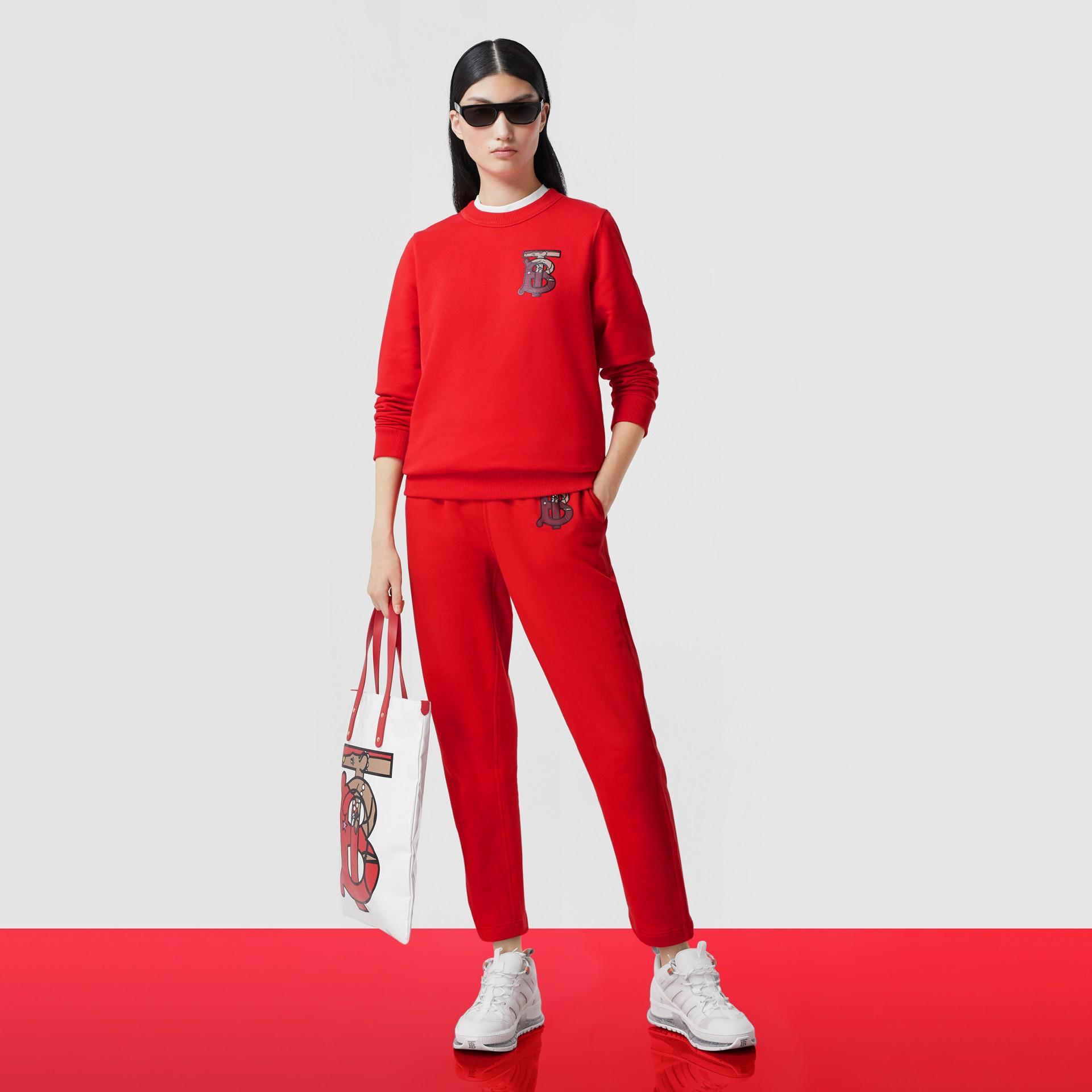 花押字圖案棉質寬版運動衫 (亮紅色) - 女款 | Burberry - 圖庫照片 5
