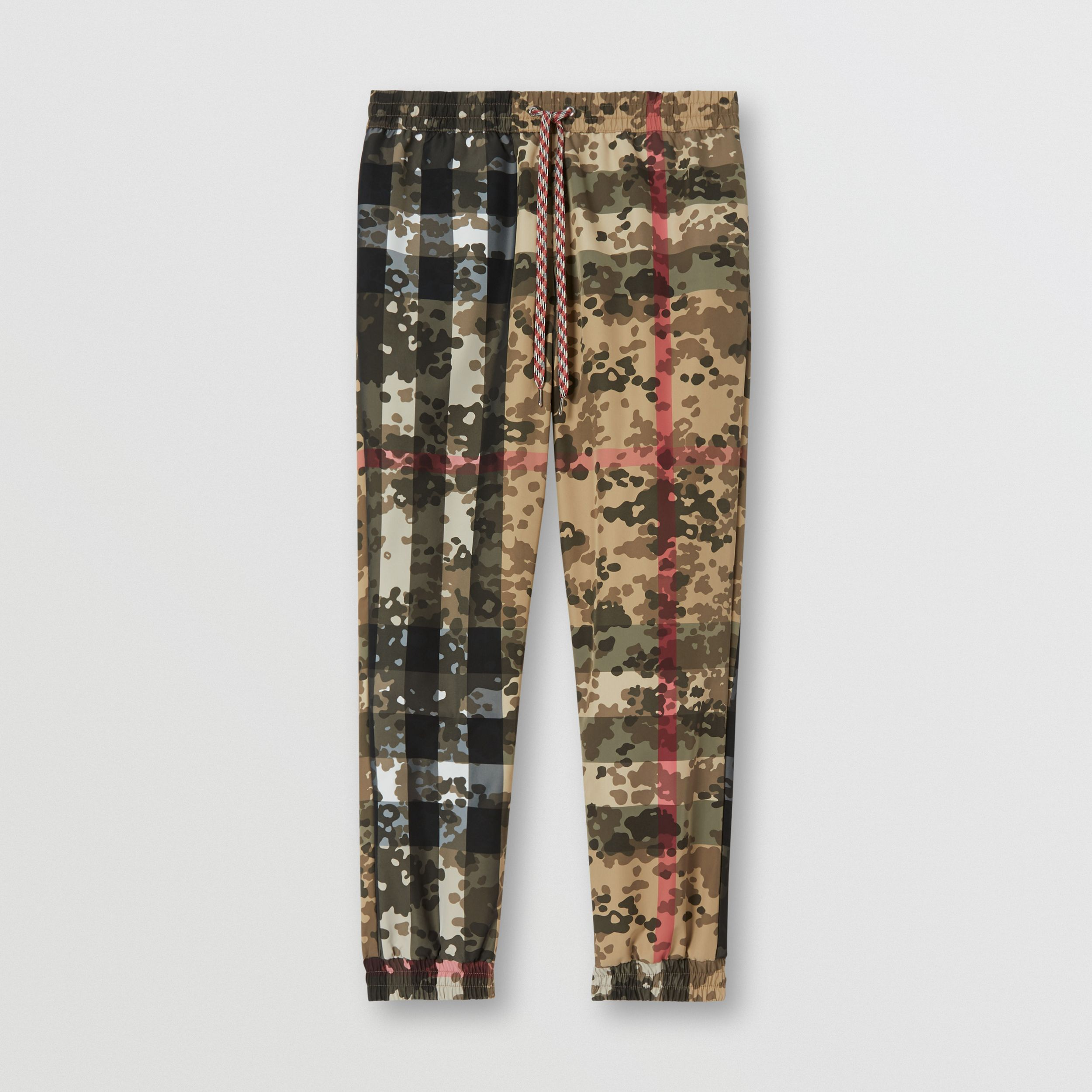 Camouflage Check Nylon Jogging Pants in Archive Beige - Men | Burberry - 4