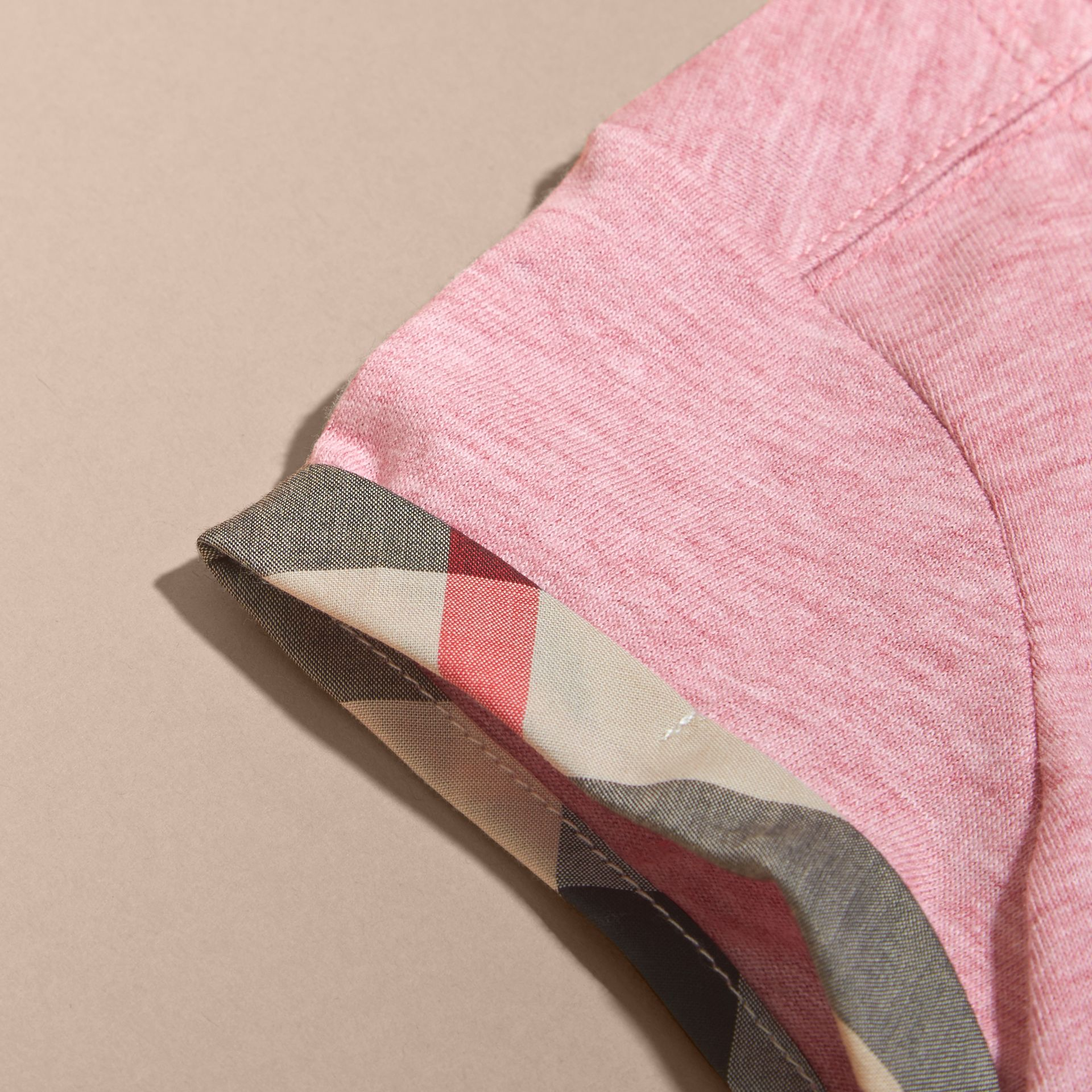 Pleat and Check Detail Cotton T-shirt in Light Copper Pink Melange | Burberry Canada - gallery image 2