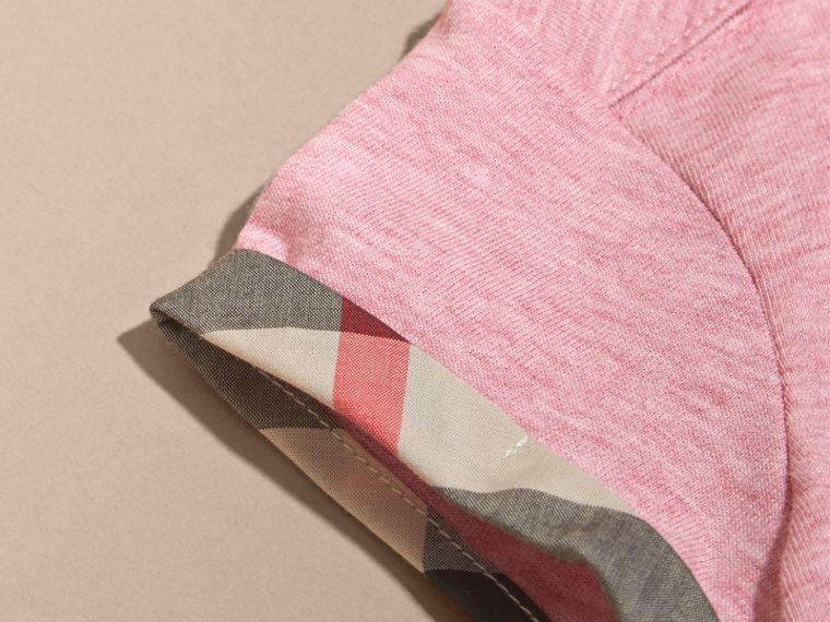 Pleat and Check Detail Cotton T-shirt in Light Copper Pink Melange | Burberry - cell image 1